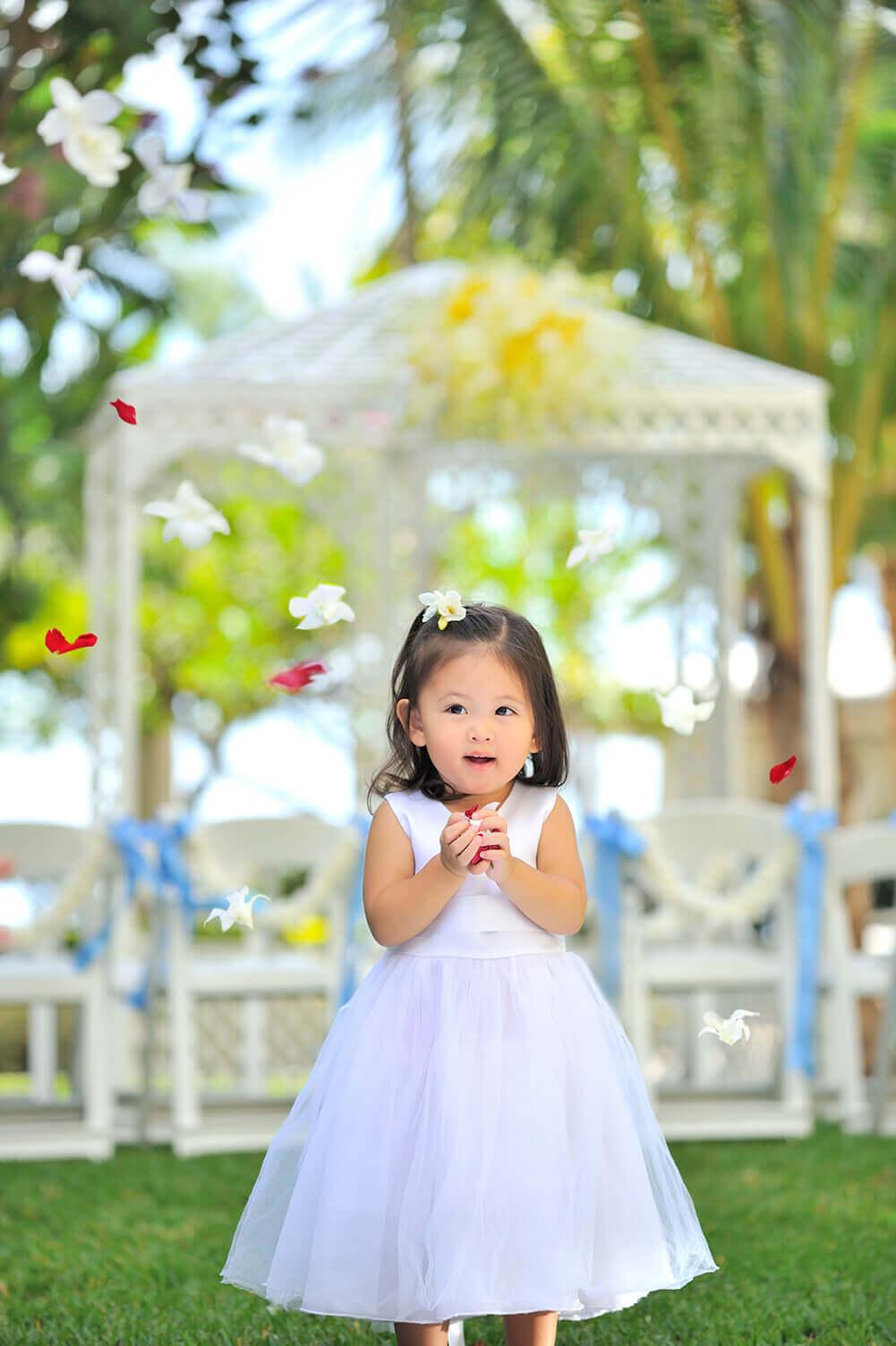 Flower girl in the Garden Courtyard for a wedding