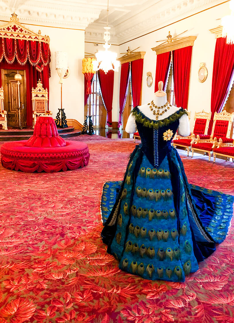 Iolani Palace with Queen Liliuokalani's gown