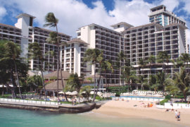 Halekulani Hotel is situated right on Waikiki Beach