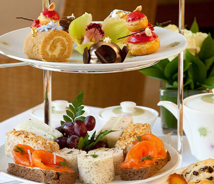 Finger sandwiches and freshly baked pastries at afternoon tea