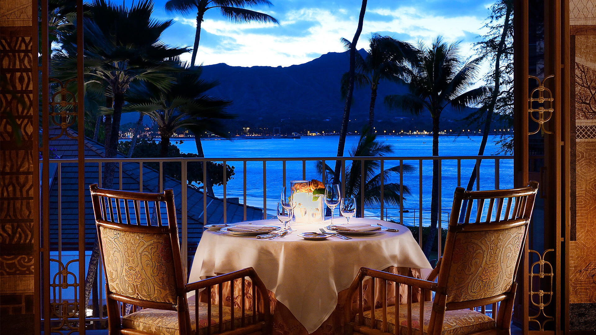 Table for two at La Mer overlooking the Pacific Ocean